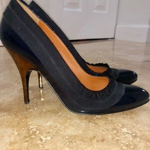 Lanvin Winter 2008 Navy Blue Patent Leather Pumps